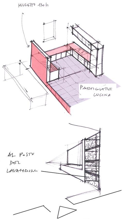 schizzi interni casa di architetti