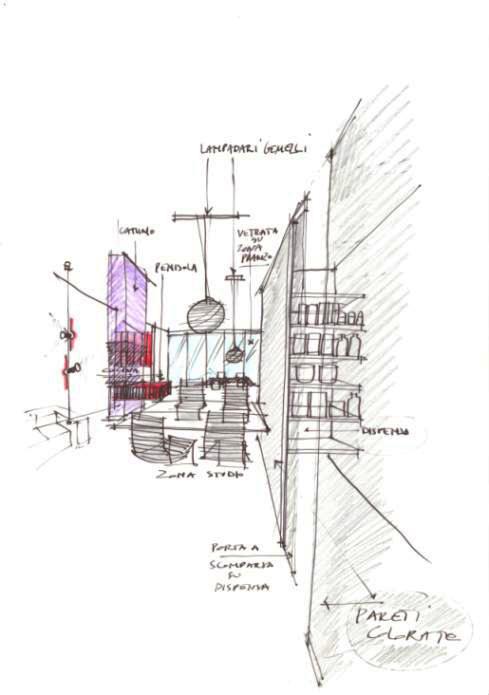prospettiva disegnata a mano da architetto